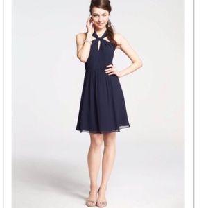 Ann Taylor Silk Georgette Keyhole Halter Dress 8